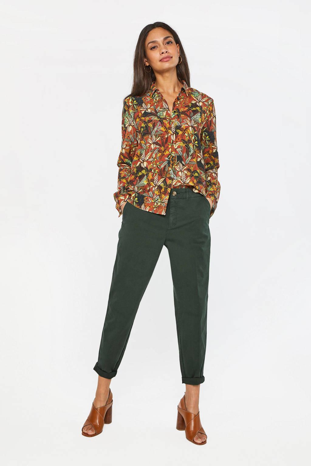 WE Fashion cropped straight fit broek donkergroen, Donkergroen