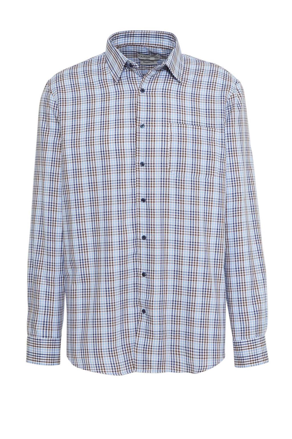 C&A Canda geruit regular fit overhemd donkerblauw, Donkerblauw