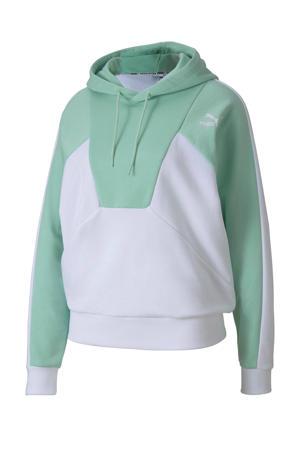 hoodie wit/mintgroen