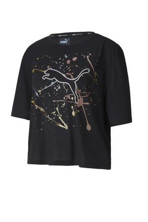 cropped sport T-shirt zwart