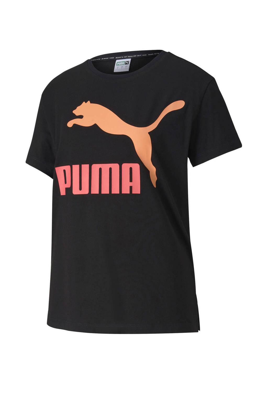 Puma sport T-shirt zwart, Zwart/oranje/koraalrood