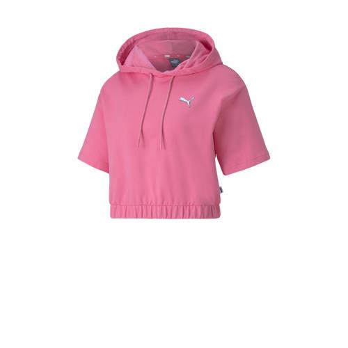 Puma cropped hoodie roze