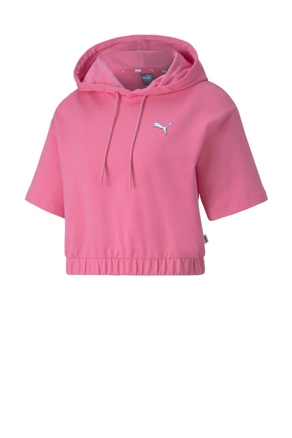 Puma cropped hoodie roze, Roze