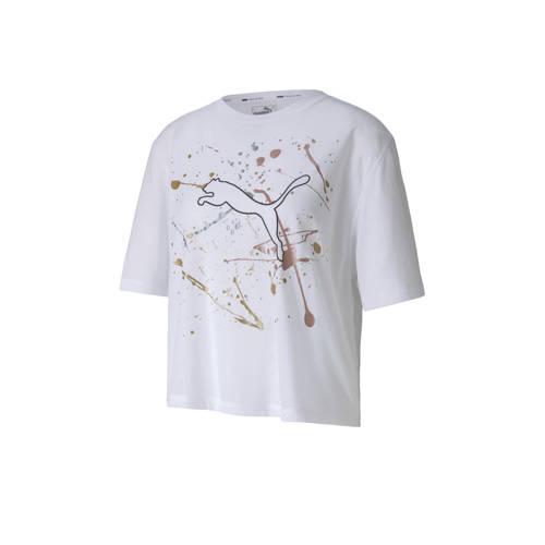 Puma cropped sport T-shirt wit
