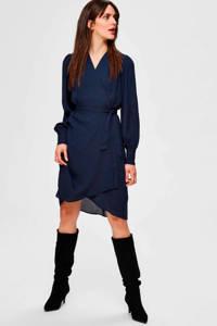 SELECTED FEMME overslagjurk met ceintuur donkerblauw, Donkerblauw