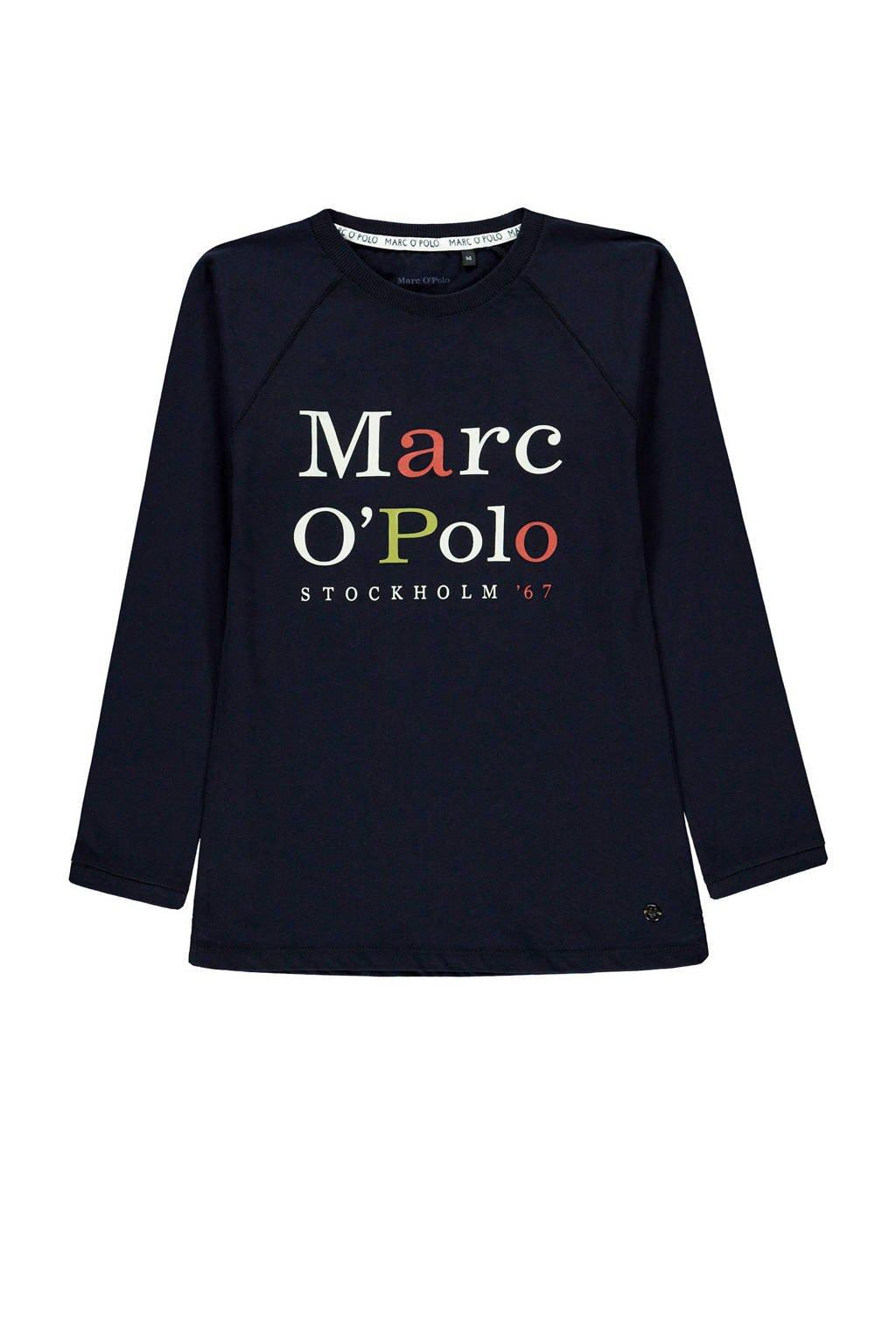 Marc O'Polo longsleeve met tekst donkerblauw/wit/rood, Donkerblauw/wit/rood