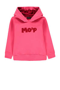 Marc O'Polo hoodie met tekst en borduursels roze/rood, Roze/rood