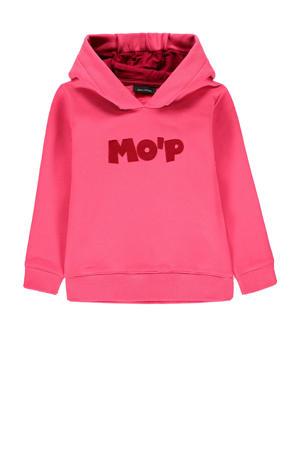 hoodie met tekst en borduursels roze/rood