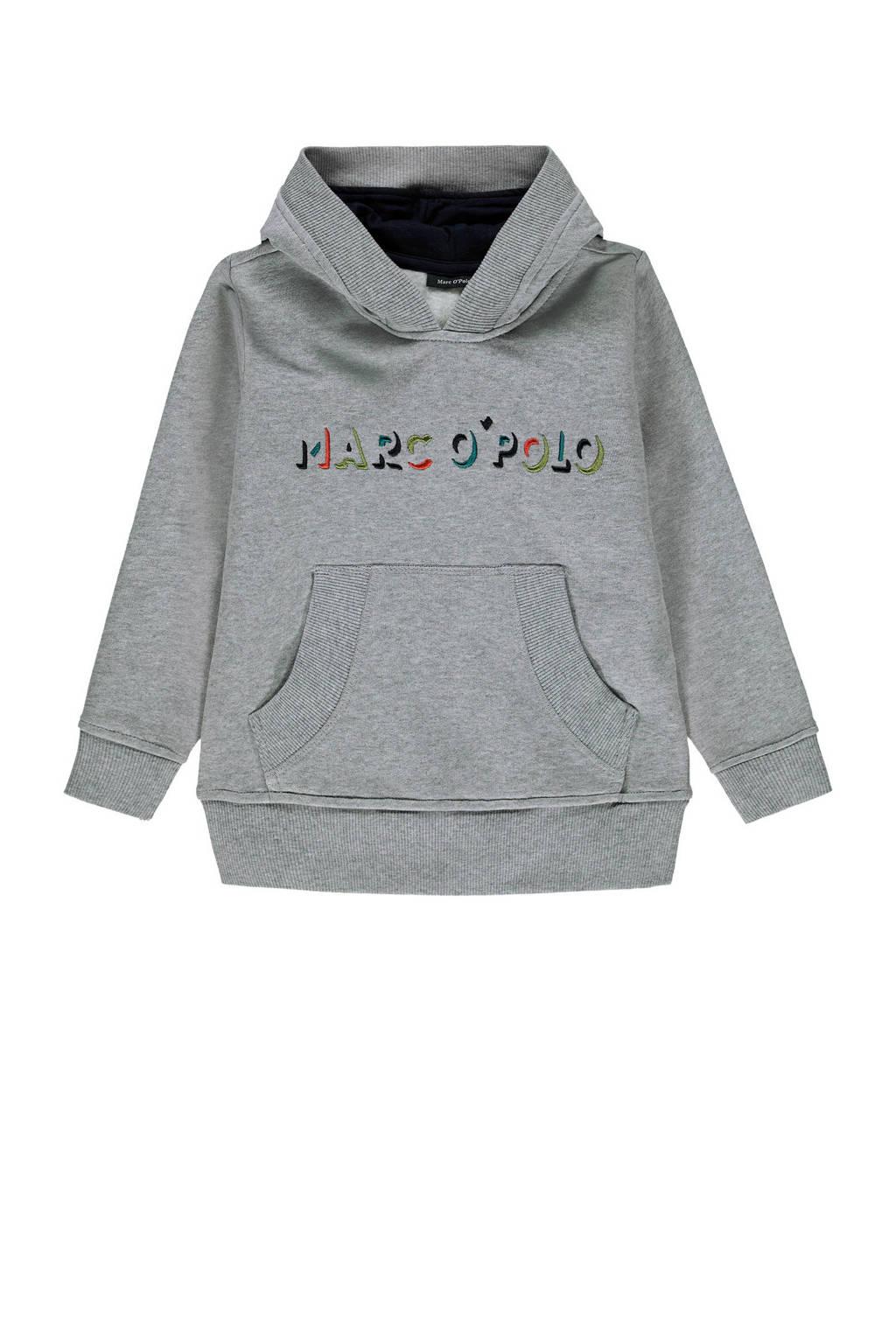 Marc O'Polo hoodie met tekst grijs/goud/rood, Grijs/goud/rood