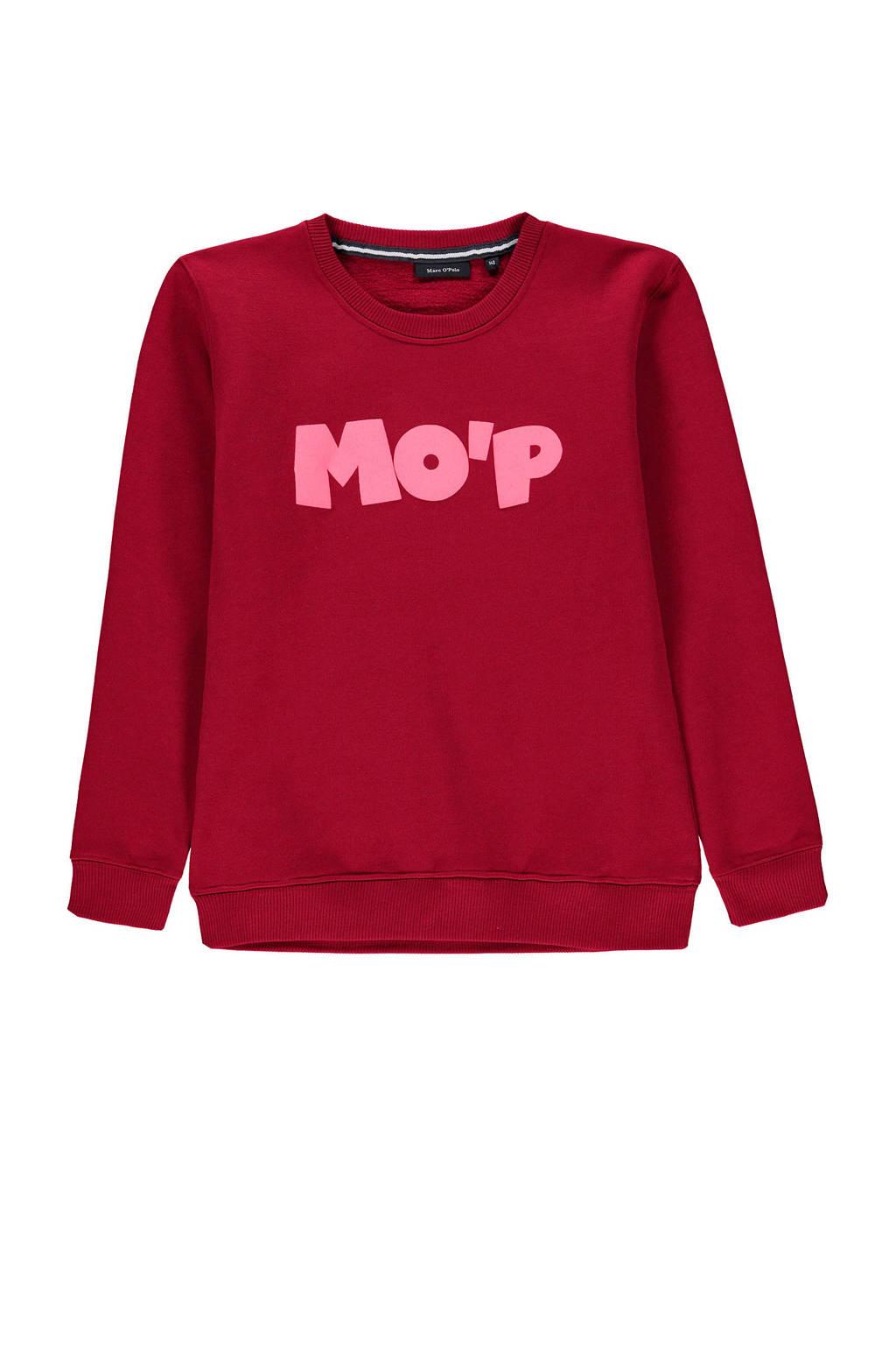 Marc O'Polo sweater met tekst rood/roze, Rood/roze
