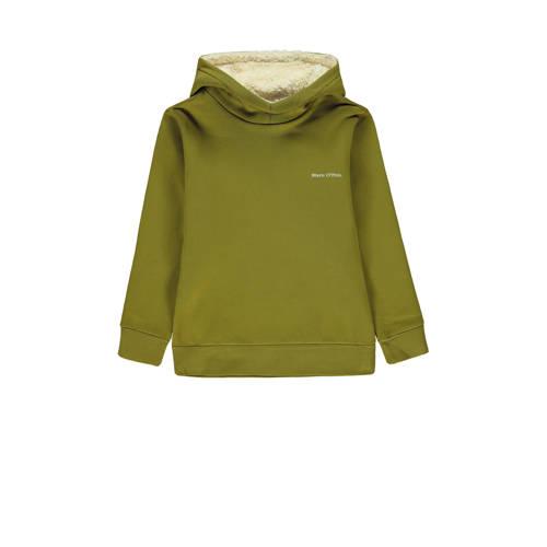 Marc O'Polo hoodie met tekst groen/wit