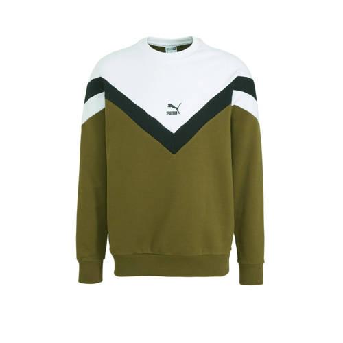 Puma sweater kaki/zwart/wit