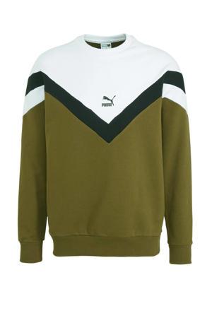 sweater kaki/zwart/wit