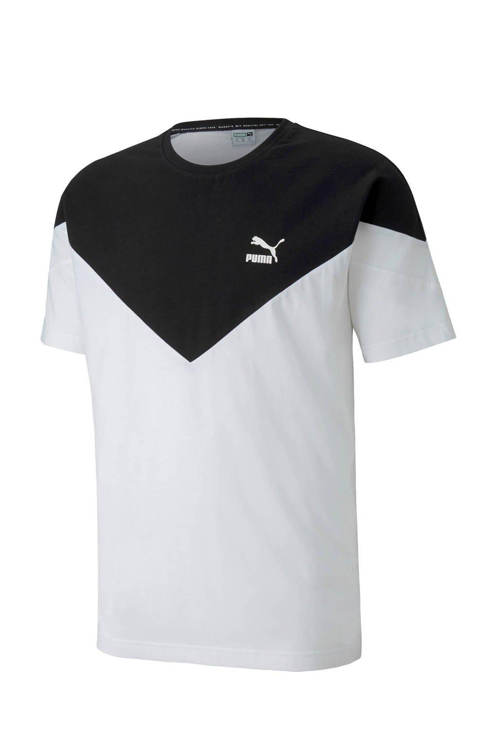 Puma   T-shirt wit/zwart, Wit/zwart