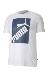 Puma   T-shirt wit/blauw, Wit/blauw
