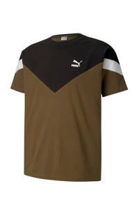 Puma   T-shirt kaki/zwart, Kaki/zwart