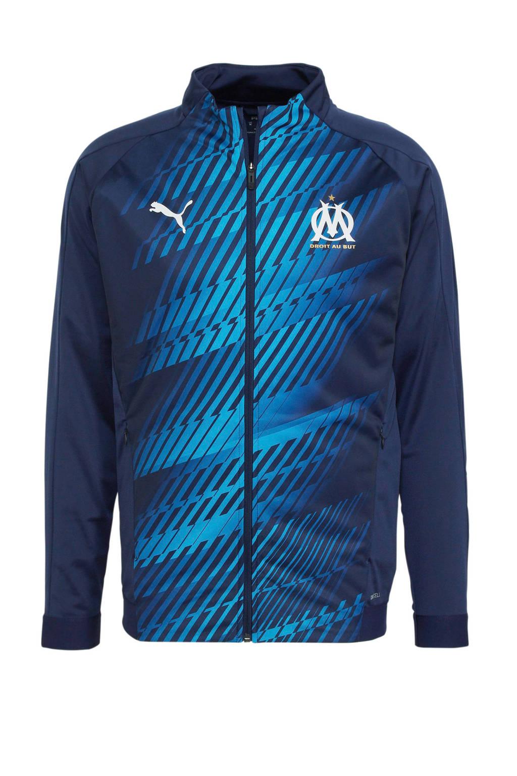 Puma Senior Olympique Marseille voetbaljack donkerblauw, Donkerblauw/blauw
