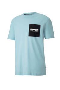 Puma   T-shirt lichtblauw, Lichtblauw/zwart