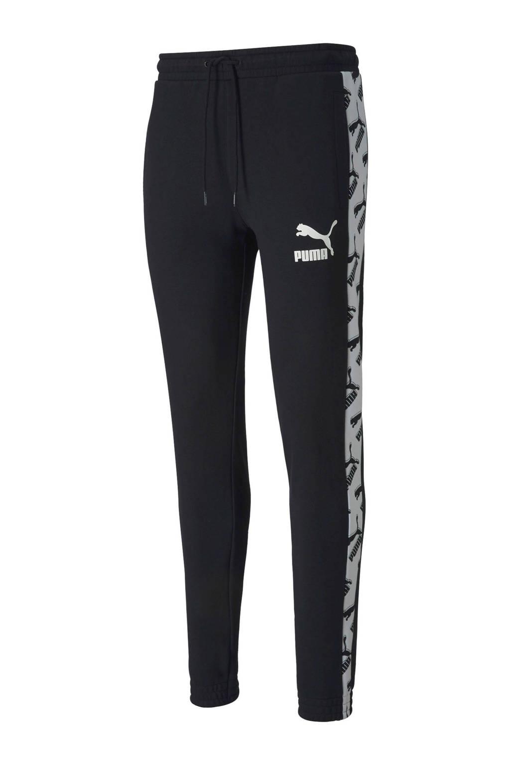 Puma   joggingbroek zwart/wit, 100% katoen