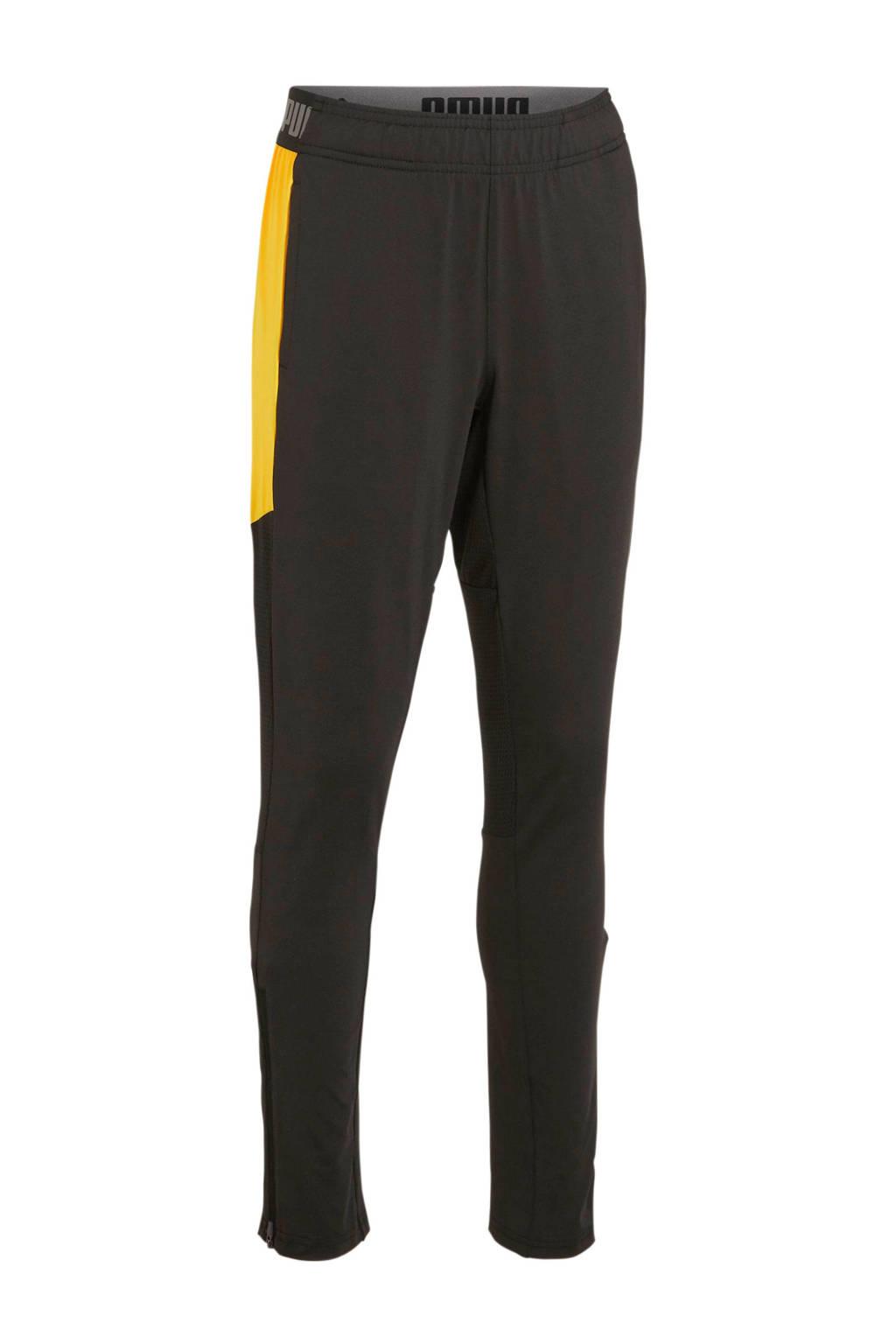 Puma Junior  voetbalbroek zwart/geel, Zwart/geel