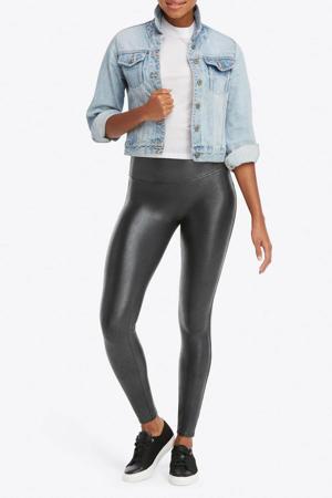 corrigerende legging Faux Leather Pebble antraciet