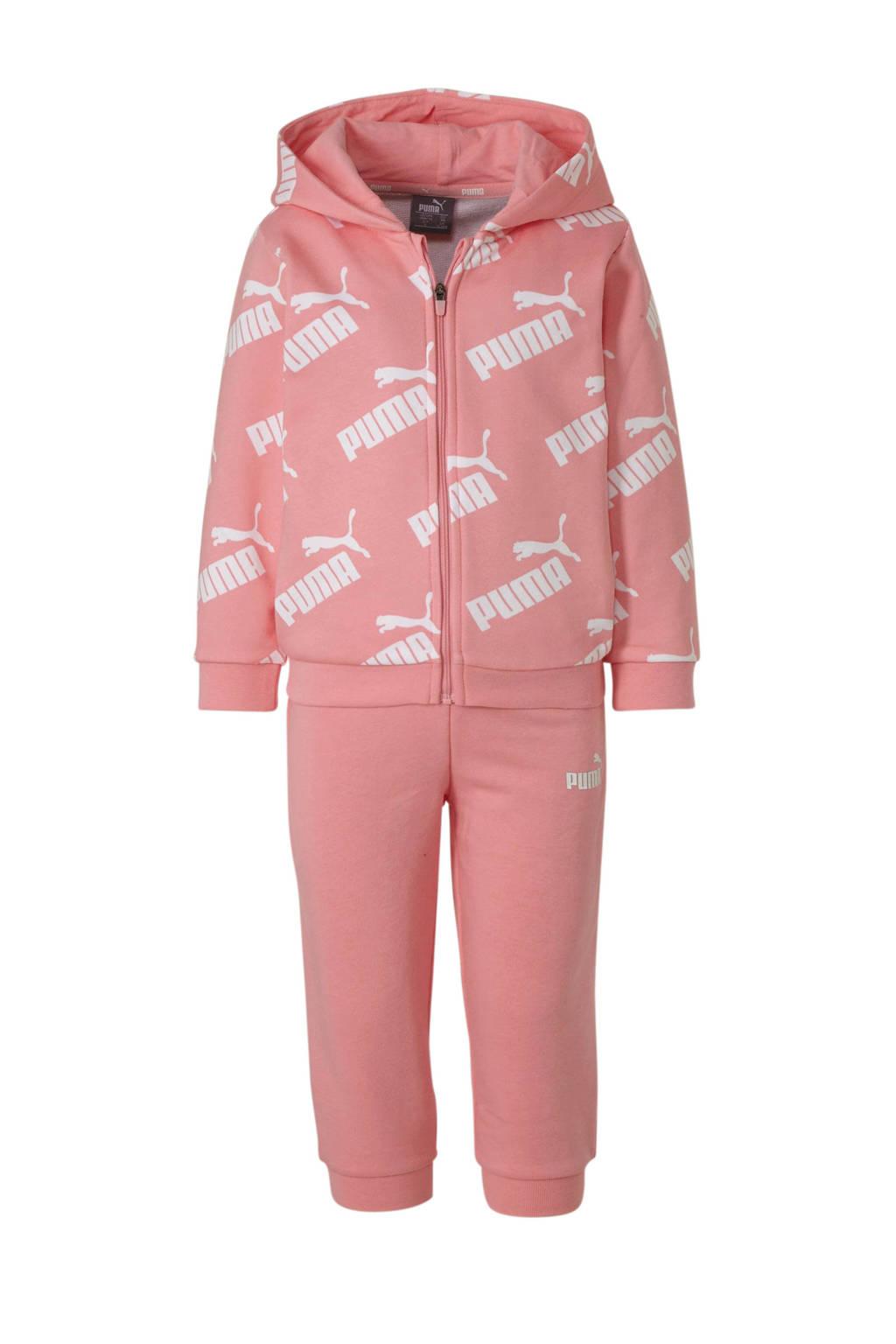 Puma joggingpak roze/wit, Roze/wit