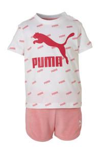 Puma T-shirt + short wit/roze, Wit/roze