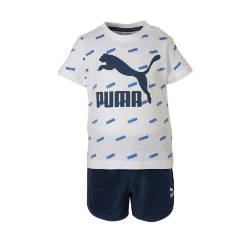 Puma T-shirt + short wit/blauw