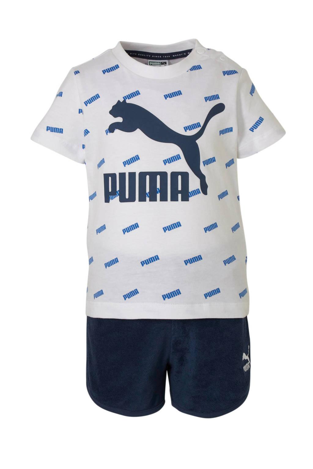 Puma   T-shirt + short wit/blauw, Wit/blauw