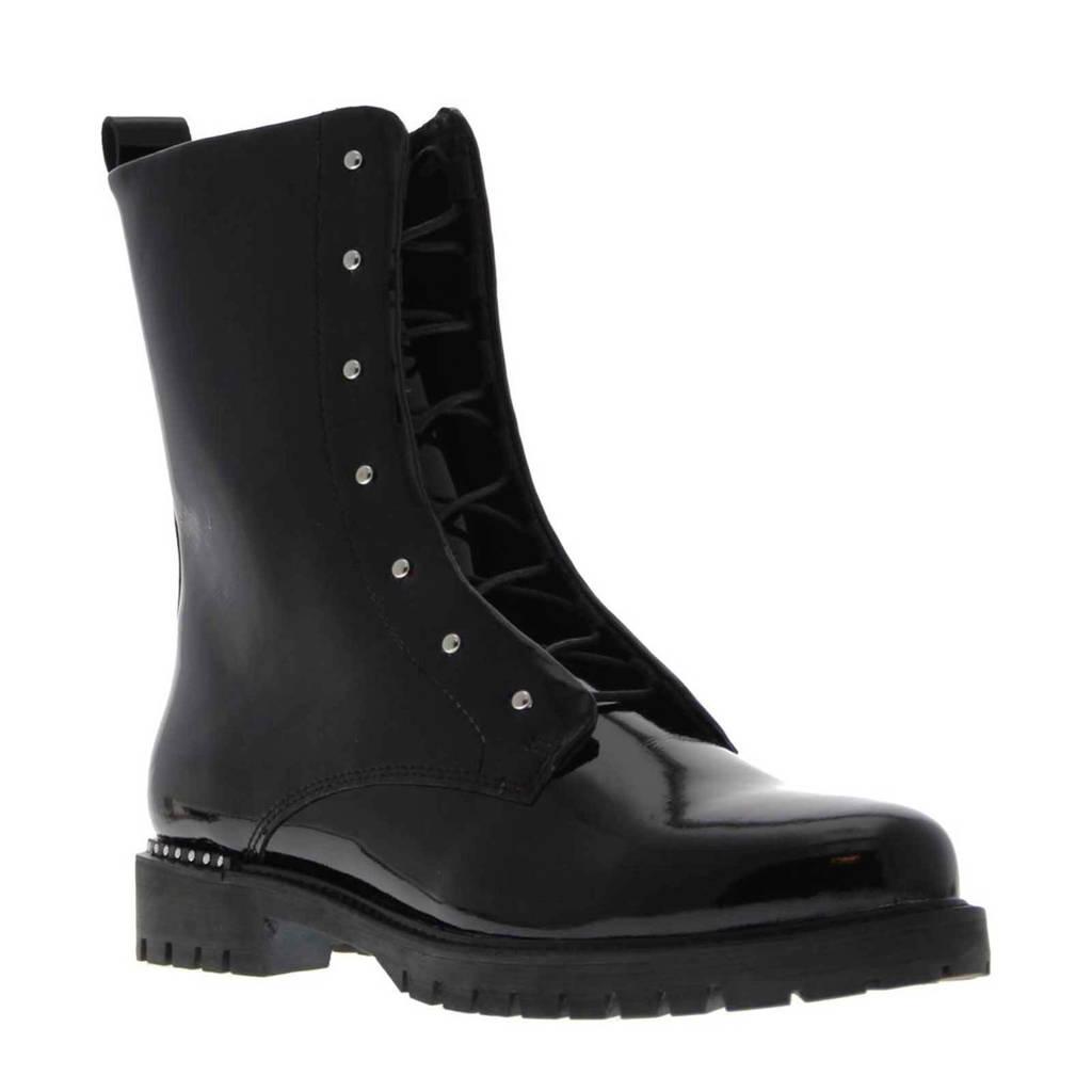Tango Shoes Bee 3135-B lakleren veterboots zwart, Zwart