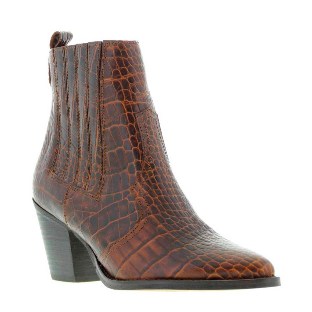 Tango Shoes Ella Western 17-C leren enkellaarzen crocoprint bruin, Bruin