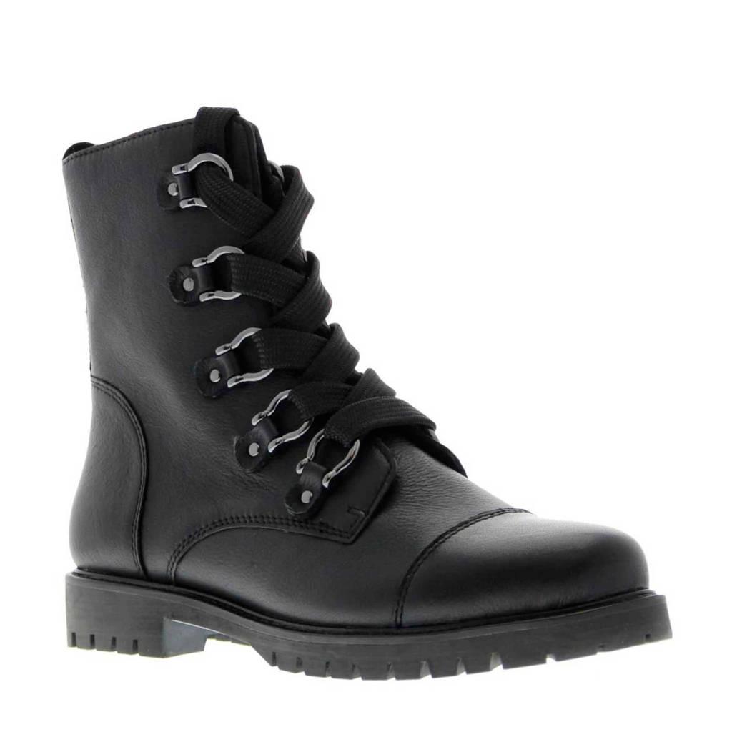 Tango Shoes Bee 3116-A leren veterboots zwart, Zwart
