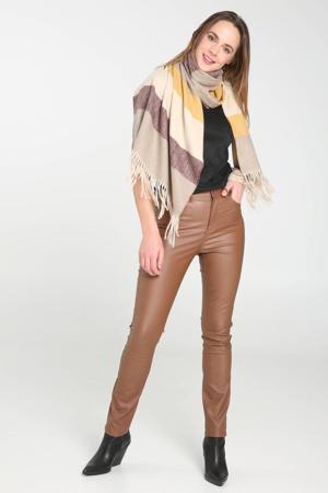 coated slim fit broek camel
