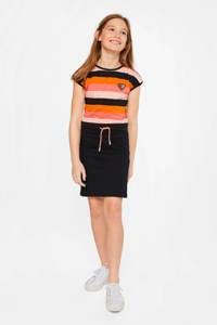 WE Fashion gestreepte jersey jurk zwart/oranje/roze, Zwart/oranje/roze