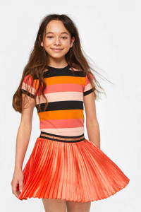 WE Fashion gestreept ribgebreid T-shirt oranje/roze, Oranje/roze