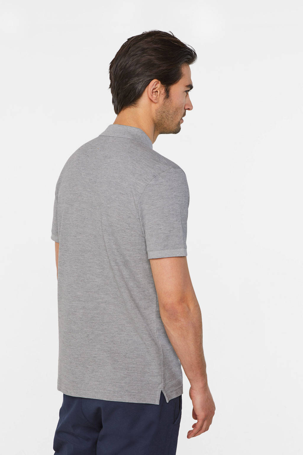 WE Fashion slim fit polo van biologisch katoen light grey melange, Light Grey Melange