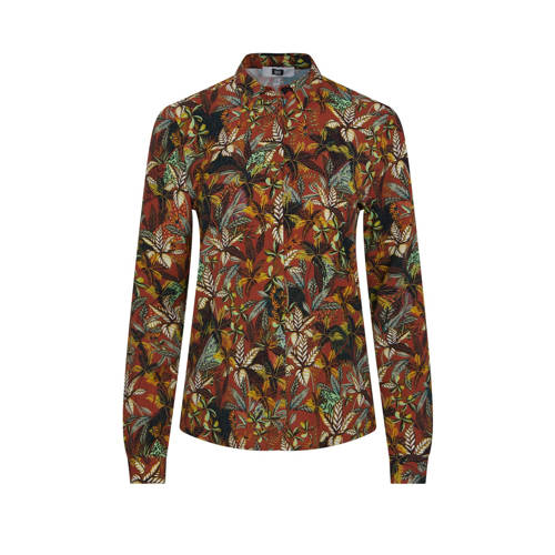 WE Fashion blouse met all over print donkerrood/mu