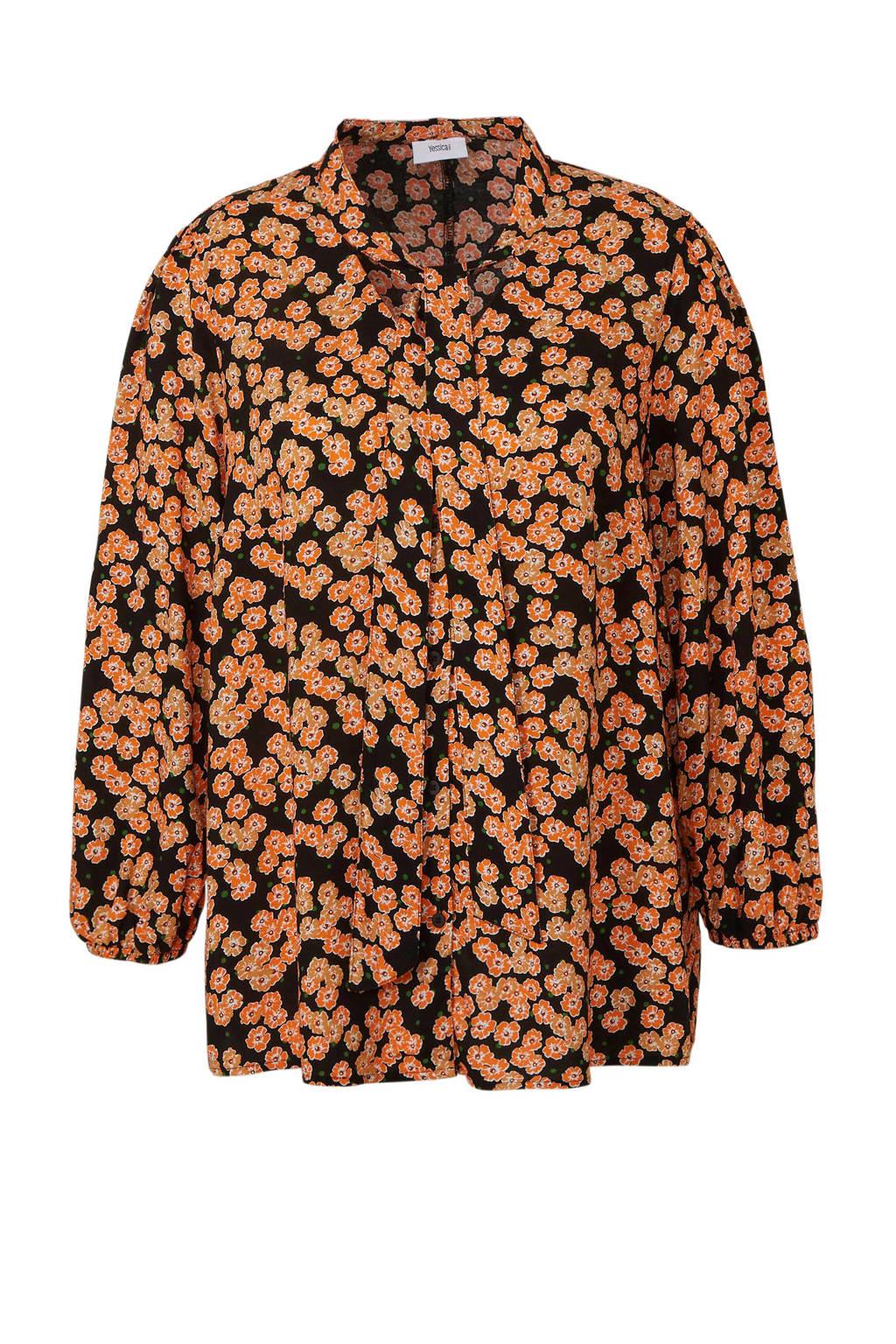 C&A XL Yessica gebloemde blouse oranje/zwart, Oranje/zwart