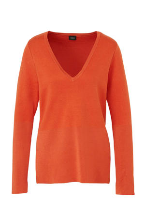 fijngebreide longsleeve oranje