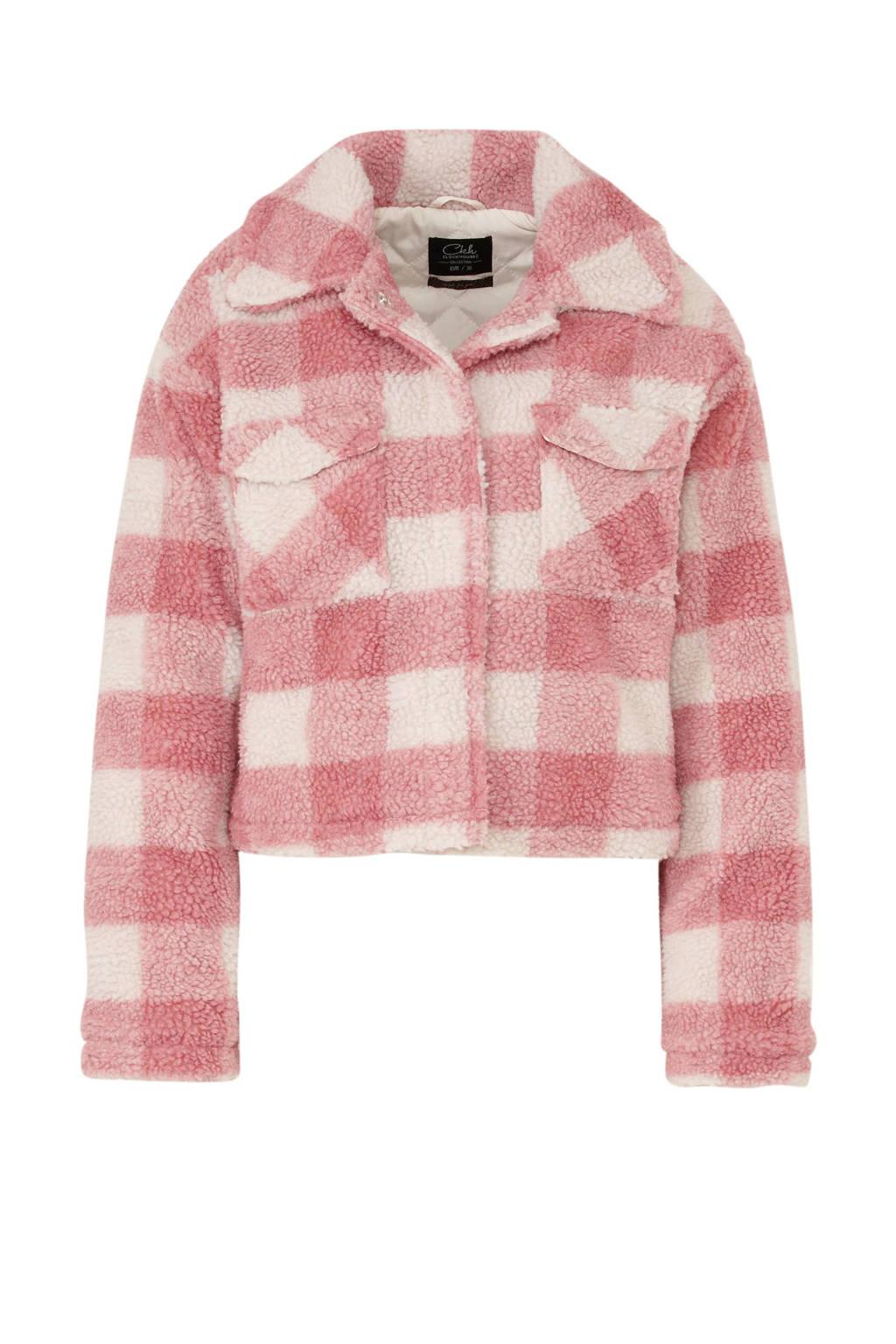 C&A Clockhouse geruite teddy jas roze/wit, Roze/wit