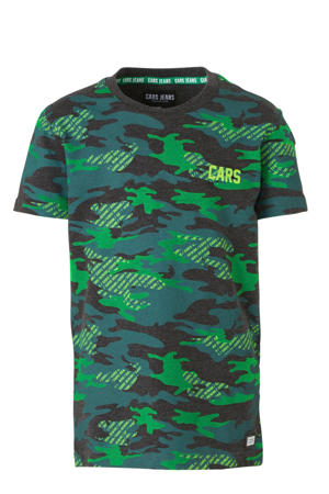 T-shirt Backson met camouflageprint groen