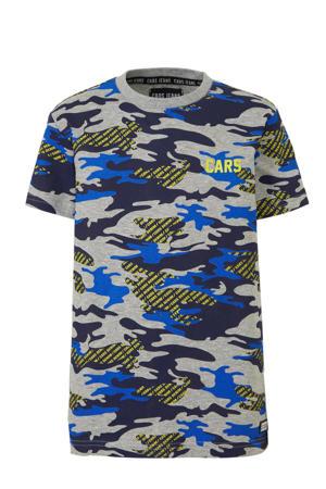 T-shirt Backson met camouflageprint grijs melange/blauw