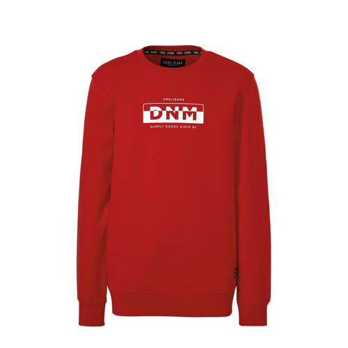 Cars sweater Charley met tekst rood/wit