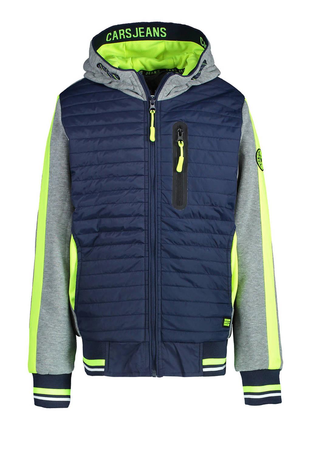 Cars zomerjas Dantone met contrastbies donkerblauw/grijs melange/geel, Donkerblauw/grijs melange/geel