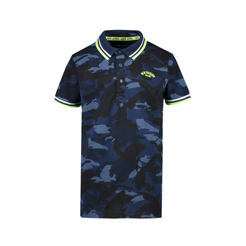 Cars polo Lecco met camouflageprint donkerblauw/bl