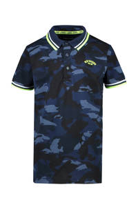 Cars polo Lecco met camouflageprint donkerblauw/blauw/limegroen, Donkerblauw/blauw/limegroen