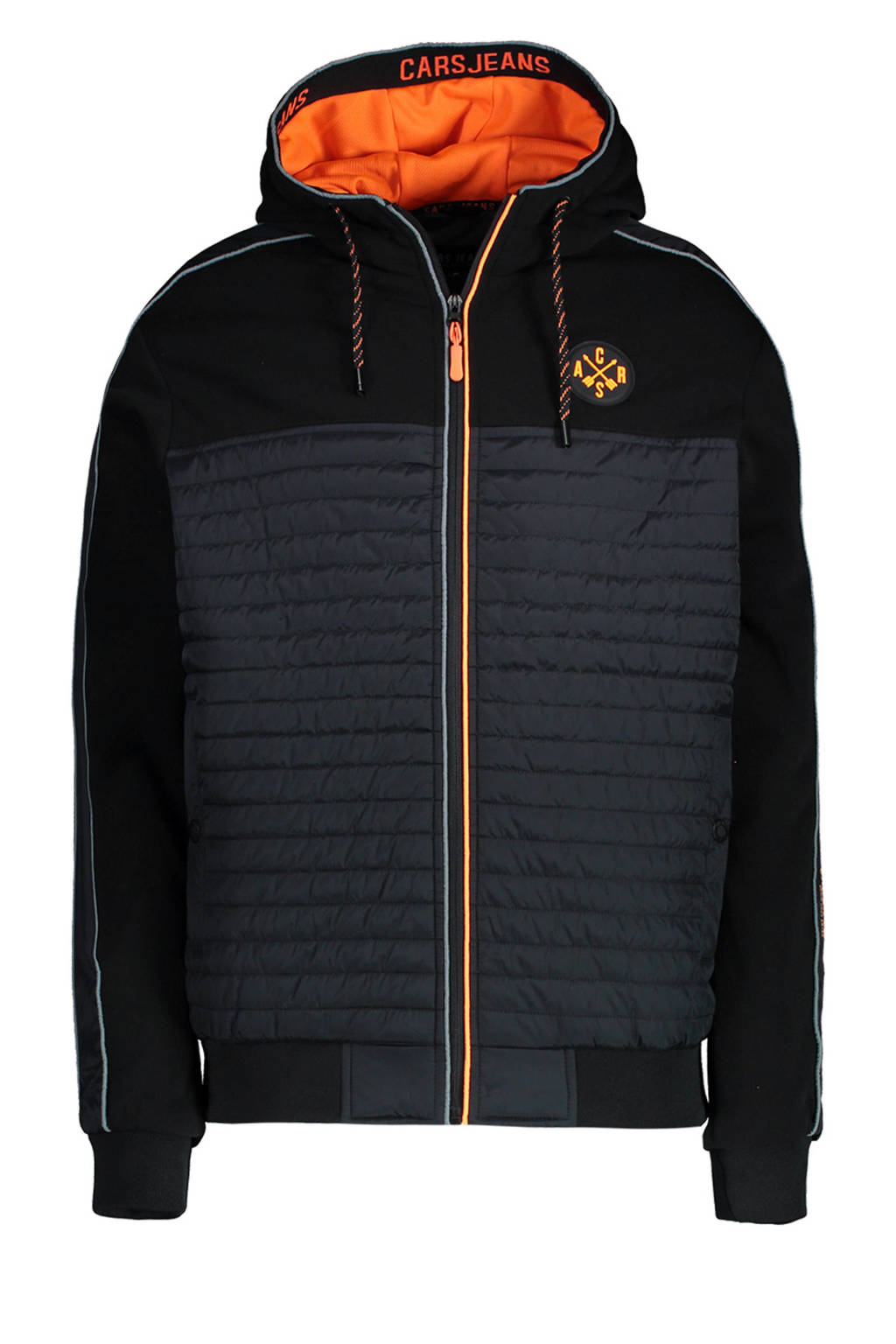 Cars zomerjas Mannini met contrastbies zwart/oranje, Zwart/oranje