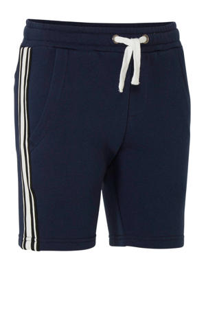 regular fit sweatshort Crosby met zijstreep donkerblauw/wit