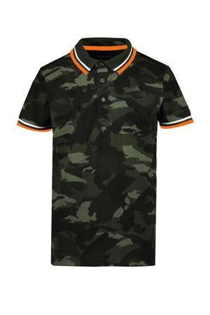 polo Lecco met camouflageprint donkergroen/groen/oranje