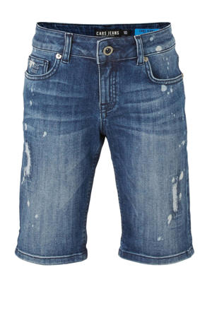 regular fit short Baris met slijtage dark denim